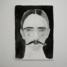 Cathy Cullis_gentleman with moustache - original portrait - gouache painting  Hope our friend will like this!
