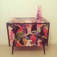 Upcycled Retro Chest Of Drawers In Parrots