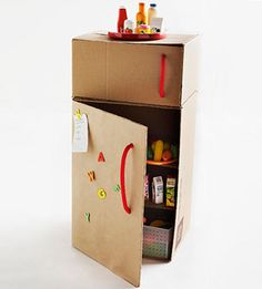 Cardboard Box Fridge.  We have some tall garment boxes from our move still that would be perfect for this.