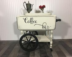 Check out our coffee bar selection for the very best in unique or custom, handmade pieces from our shops. Antique Tea Cart, Paint Furniture, Furniture Refinishing, Accent Furniture, Garden Furniture, Furniture Ideas, Tea Table Design, Pallet End Tables, Painted Coffee Tables