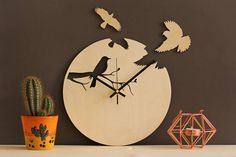 Bird wall clock / Unique wall clocks / Modern wood clock / Birds home decoration / Laser cut clock / Wood birds / Handmade wooden clock