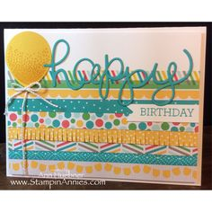 Birthday Card using Cherry On Top DSP and Washi Tape from Stampin' Up! Www.StampinAnnies.com for more fun cards!!!