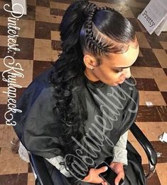 braided ponytail styles for black hair Try in 2020 Hair styling adds an additional beauty to a woman. Black or white, the hair style matters a lot in your Weave Ponytail Hairstyles, Ponytail Styles, Sleek Ponytail, Braided Ponytail, Braid Styles, Girl Hairstyles, Curly Hair Styles, Natural Hair Styles, Black Hairstyles