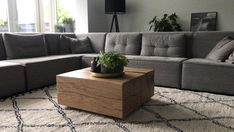 Decor, Oak Coffee Table, Furniture, House, Sectional Couch, Table, Home Decor, Oak