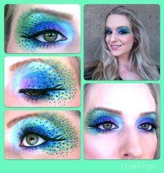 Noelle Finger Make-Up Pfau Kostüm<br> Eye Makeup Artist Peacock Eye Makeup, Dramatic Eye Makeup, Unique Makeup, Dark Makeup, Colorful Makeup, Simple Makeup, Maquillaje Halloween, Halloween Makeup, Halloween 2016