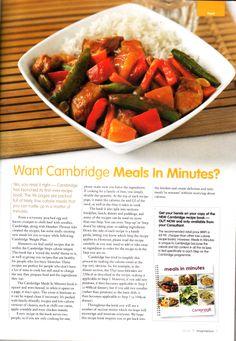 Recipes from Cambridge Weight Plan. http://www.cambridgeweightplan.com/consultants/19224/1/laurence-b