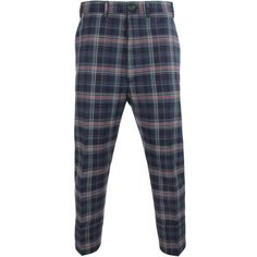 Vivienne Westwood Faulty Check Cropped James Bond Trousers ($605) ❤ liked on Polyvore featuring men's fashion, men's clothing, men's pants, men's casual pants, bottoms, pants, mens slim pants, mens cotton pants, mens navy blue pants and mens slim fit pants