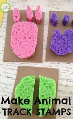 animal track stamps for an animal craft for kids Make this very fun and educational project for your animal-loving kids! Green Crafts For Kids, Animal Crafts For Kids, Toddler Crafts, Animals For Kids, Art For Kids, Animal Activities For Kids, Summer Crafts, Fun Craft, Craft Activities