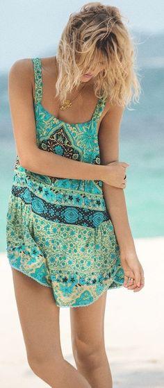 #summer #spellandthegypsycollective #outfits | Green + Blue Overall