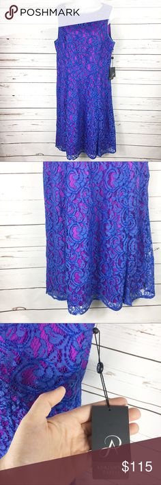 Adrianna Papell Plus Lace Fit & Flare Dress NWT stunning lace dress with back zip closure. Blue lace over a fuchsia purple underlayer. Fit and flare style. Size 14, true to size. Has hidden, discrete pockets. Last photo shows style (not color) of actual dress. Adrianna Papell Dresses