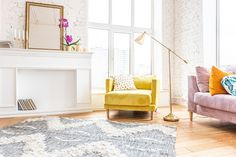 Scandinavian Style Apartment Interior Bright Yellow Stock Photo (Edit Now) 1367155730 Throw Pillow Covers, Pillow Cases, Satin Pillowcase, Guest Room Office, Industrial House, Food Storage Containers, Apartment Interior, Storage Rack, Strip Lighting