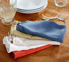 Gypsy Interior Design Dress My Wagon| Serafini Amelia| RV Styling-Rustic Luxe® Belgian Linen Flax Napkin, Set of 4 #potterybarn
