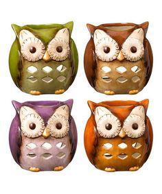 Another great find on #zulily! Owl Tealight Holder Set, $34 !!  #zulilyfinds