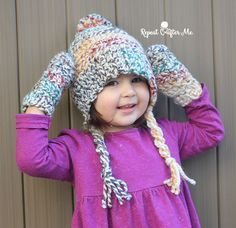 Make this cute hat & mitten set with Wool-Ease Thick & Quick in Hudson Bay, one of our most popular colors! Free crochet pattern by Repeat Crafter Me.