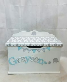 personalised toy box children baby kids first birthday Christmas bespoke handmade Dreambox toy boxes names bedroom nursery furniture storage parents pregnancy newborn new parents home style elephant Boys Toy Box, Kids Toy Boxes, Baby Room Furniture, Diy Furniture Projects, Furniture Storage, Kids Furniture, Luxury Furniture, Nursery Toys, Nursery Storage