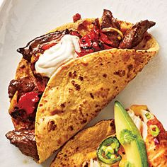 100 Mexican Recipes | Steak and Charred Vegetable Tacos | CookingLight.com