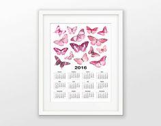 Pink Butterflies 2016 Calendar  Butterflies Art por QuantumPrints Vintage Butterfly, Pink Butterfly, Butterflies, 2016 Calendar, Calendar Girls, Christmas Gifts, Room Decor, Etsy, Unique Jewelry