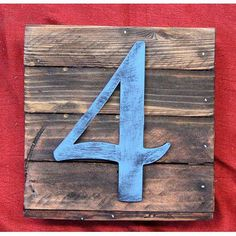 "aMonogramArtUnlimited Number Mounted on Rustic Wooden Board Wall Décor Size: 24"" H x 24"" W x 1.75"" D, Number: 4"