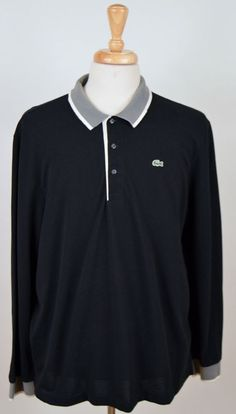 men's Lacoste black gray long sleeve cotton polo rugby 7 XL shirt  #Lacoste #PoloRugby