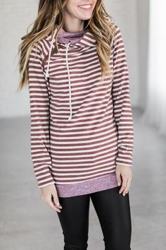 Double Hooded Sweatshirt - Rusted Stripes