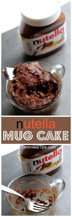 Super easy Nutella Mug Cake Recipe! Delicious in a mug desserts recipes make me happy! They are the perfect size for a sweet treat without the guilt of eating an entire cake.