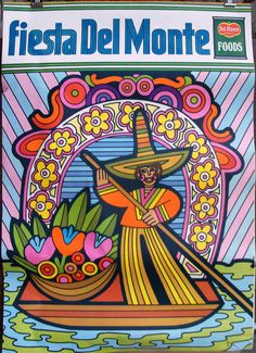 1969 Psychedelic Poster Cosmic Art Fiesta Del Monte Foods  Peter Max Style Mod Advertising Lot of 2