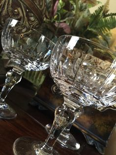 This listing is for a set of 3 Crystal Champagne or Tall Sherbet Glasses. These pieces were made by Stuart England in the Hampshire Pattern. Theses