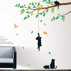 Tree and cats wall decal