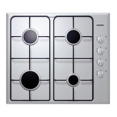 The gas cooktop with a stainless steel surface.