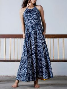 Indigo- Yellow Button Detailed Natural Dyed Block Printed Flare Maxi Dress