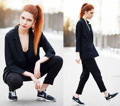 Ebba Zingmark - Ivyrevel Top, 2hand Jacket, Weekday Pants, Nike Sneakers, Suzywan Deluxe Earrings - Black Monday | LOOKBOOK