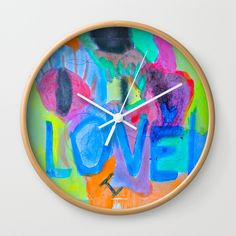 """Available in natural wood, black or white frames, our 10"""" diameter unique Wall Clocks feature a high-impact plexiglass crystal face and a backside hook for easy hanging. Choose black or white hands to match your wall clock frame and art design choice. Clock sits 1.75"""" deep and requires 1 AA battery (not included). Wall Clock Frame, White Frames, Unique Wall Clocks, Love Painting, Summer Of Love, Natural Wood, Hands, Deep, Crystals"""