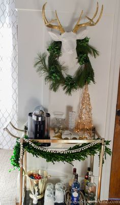Styled Christmas bar cart