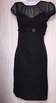 TAHARI WOMENS BLACK ALL OCCASION SHORT SLEEVE SHEATH DRESS W/ BELT SIZE 8  | eBay