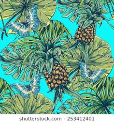 Beautiful seamless floral jungle pattern background. Tropical palm leaves with butterflies and pineapples, plants