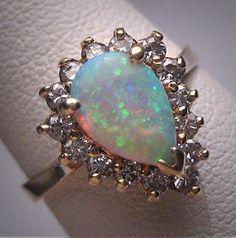 Vintage Australian Opal Diamond Ring Wedding 14K Gold c.1950 Engagement