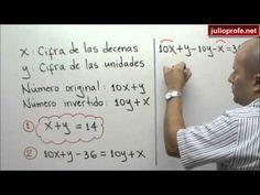 Problema con un Sistema de 2x2: Julio Rios explica la solución del siguiente problema: La suma de las dos cifras de un número es 14, y si al número se le resta 36,