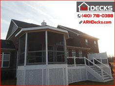 """Good times, good friends, and great deck with gazebo. Throw a BBQ grill on that awesome new deck and that is a recipe for pure happiness. Anne Arundel MD Deck Contractor – ARH Decks (410) 718-0388"""