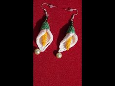 Aretes o pendientes a crochet / how to crochet calla lily flower earings - YouTube