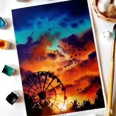 Watercolor Art Lessons, Watercolor Paintings For Beginners, Canvas Painting Tutorials, Watercolor Landscape Paintings, Diy Canvas Art, Sunset Acrylic Painting, Watercolor Sunset, Art Painting Gallery, Art Drawings Sketches Simple