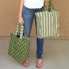 For once, it is easy being green! You'll love taking these cute totes to the grocery store with you.