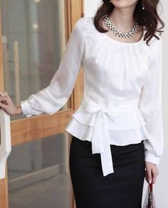 Fashion Women's OL Style Sweet Pleated Bodice Ruffled Ribbon Waist Blouse Shirt in Clothing, Shoes & Accessories, Women's Clothing, Tops & Blouses Cute Blouses, Shirt Blouses, Modest Fashion, Fashion Dresses, Silvester Outfit, Bluse Outfit, Business Outfit, Business Lady, Business Chic
