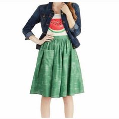 The Grass is Greener ModCloth Skirt with a pocket Adorable green skirt with a pocket. I LOVE LOVE this skirt! Unfortunately it fits like a 16 and I'm a size 20  ModCloth Skirts A-Line or Full