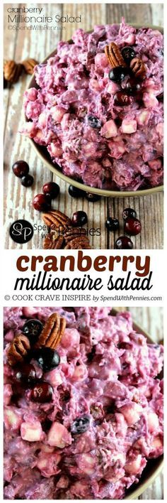 Cranberry Millionaire Salad! If you love Ambrosia salad, you're going to go crazy for this dish! Perfect served along side turkey dinner!