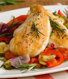 Roasted Chicken & Vegetables Primavera Directions Preheat oven to 425 ...