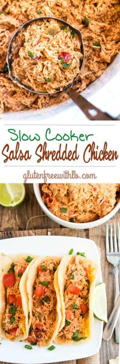 A gluten free shredded chicken dinner recipe for a healthy meal that can be made in the slow cooker or Crockpot.