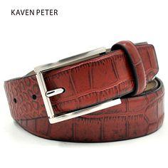 Crocodile Belt Men Genuine Leather Fashion Accessories Luxury  Cowskin Crocodile Pattern Belts Red Brown Buckles metal