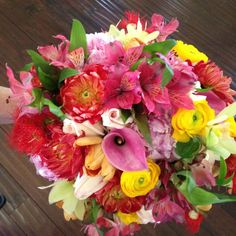 Mixture of flowers in warm colors.