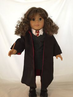18 Inch Brunette Girl Doll with Brown Eyes  Dressed in a A Wizards Costume is a American Girl Doll With A New Boys Wig