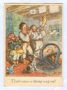 Old Czech Christmas Card-Marie Fischerová Kvěchová Family Origin, Children's Book Illustration, Book Illustrations, Believe In God, Christmas Traditions, Vintage Postcards, Golden Age, Christmas Cards, Christmas Postcards